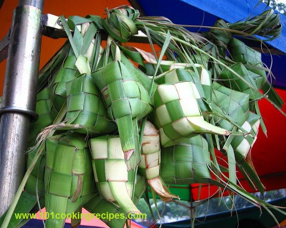 Ketupat Nasi (Compressed Rice Cakes) wrapped in coconut palm leaves